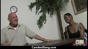 abused black slut Boss sucking secretarys boobs nd nipples