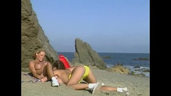 lesbians at beach nude sex Sandra kay has a partially shaved snapper with na