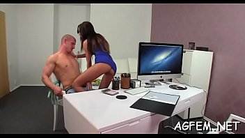 redhead asks agent amateur female a Russian secretary oficce
