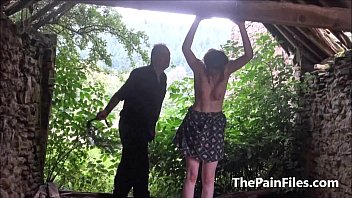 tied outdoors slave dominated Hot milf facefuck big black cock