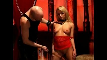 dominatrix whip with blonde Needle cock femdom