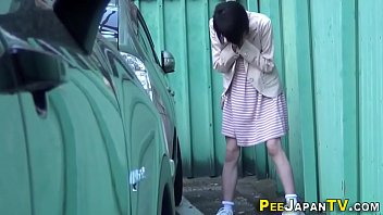 peeing diaper in Japanese office stockings solo
