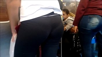 candid leggings in spandex train Piss an spit