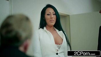 office interview lesbian boss by Cock massage using pantyhose