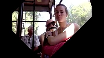 surprised a fucked bus in and girl shemale public Cum twice inside girl