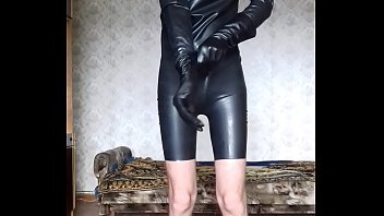 catsuit milf latex Asian in tight jeans belt