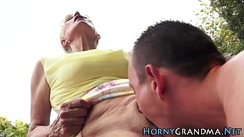 granny outdoor orgy Pinky squirts on dick while fucking and sucking part 2